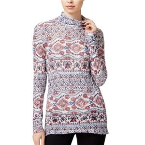 Lucky brand printed linen blend casual top